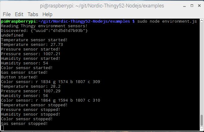 Walkthrough of Nordic Thingy:52 Node js Raspberry Pi demos