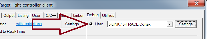 Use the JLink debugger