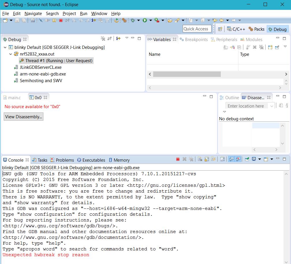 nRF52 PCA10040 Debugging fails Eclipse - Nordic DevZone
