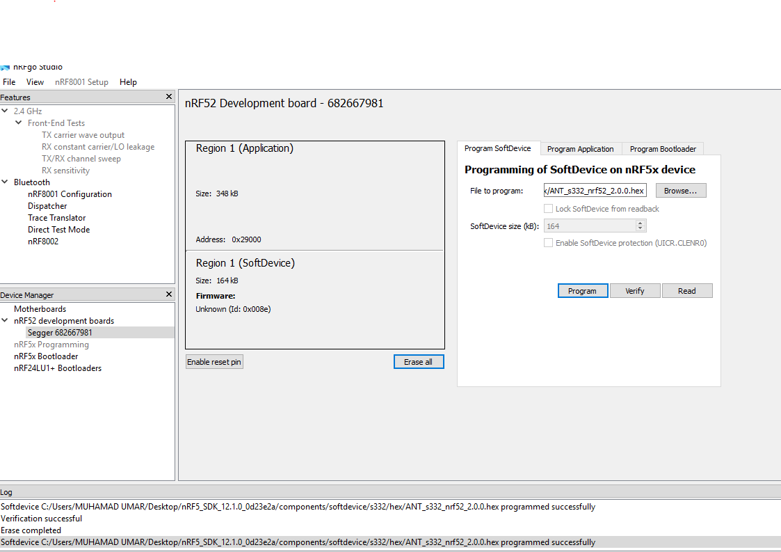 S332 softdevice not working with ble examples of SDK 12 1 0