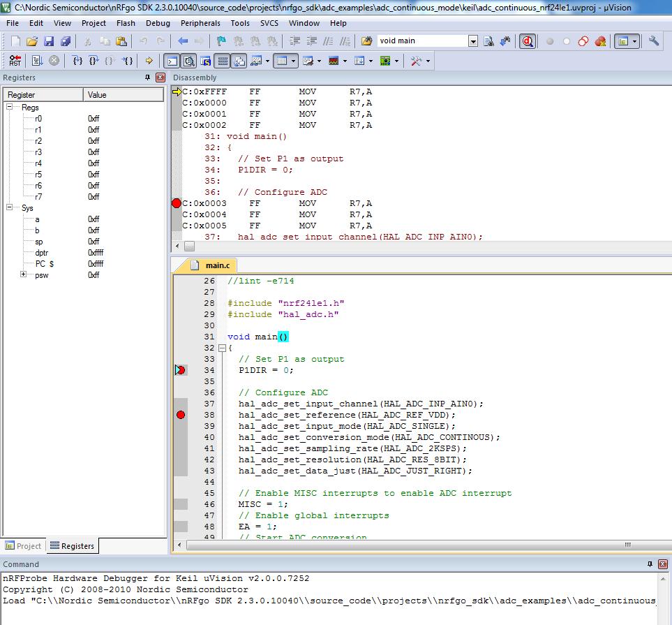 nRF24LE1E debugging problem in Keil - Nordic DevZone
