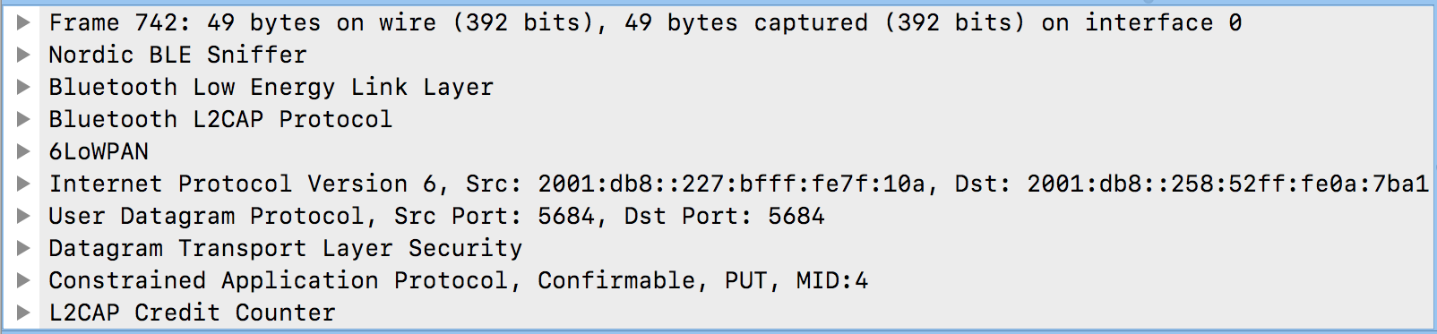 Is it possible to sniff 6lowpan\coap over BLE with wireshark