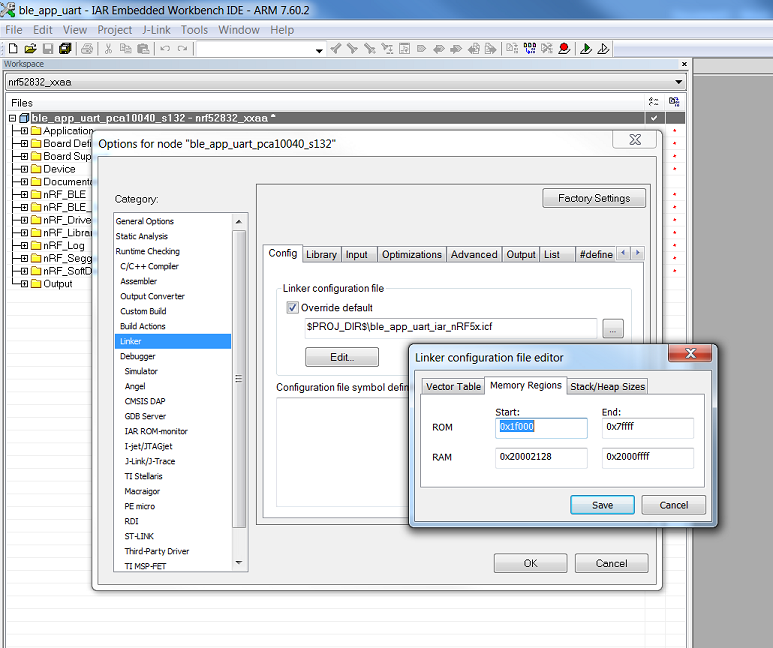 is there a way to set irom1 and iram1 in IAR? - Nordic DevZone