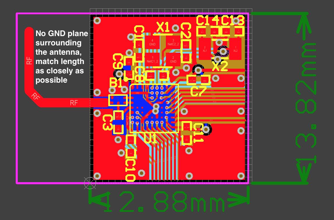 Designing trace antenna nRF51822-CFAC + BAL-NRF02D3, surrounding