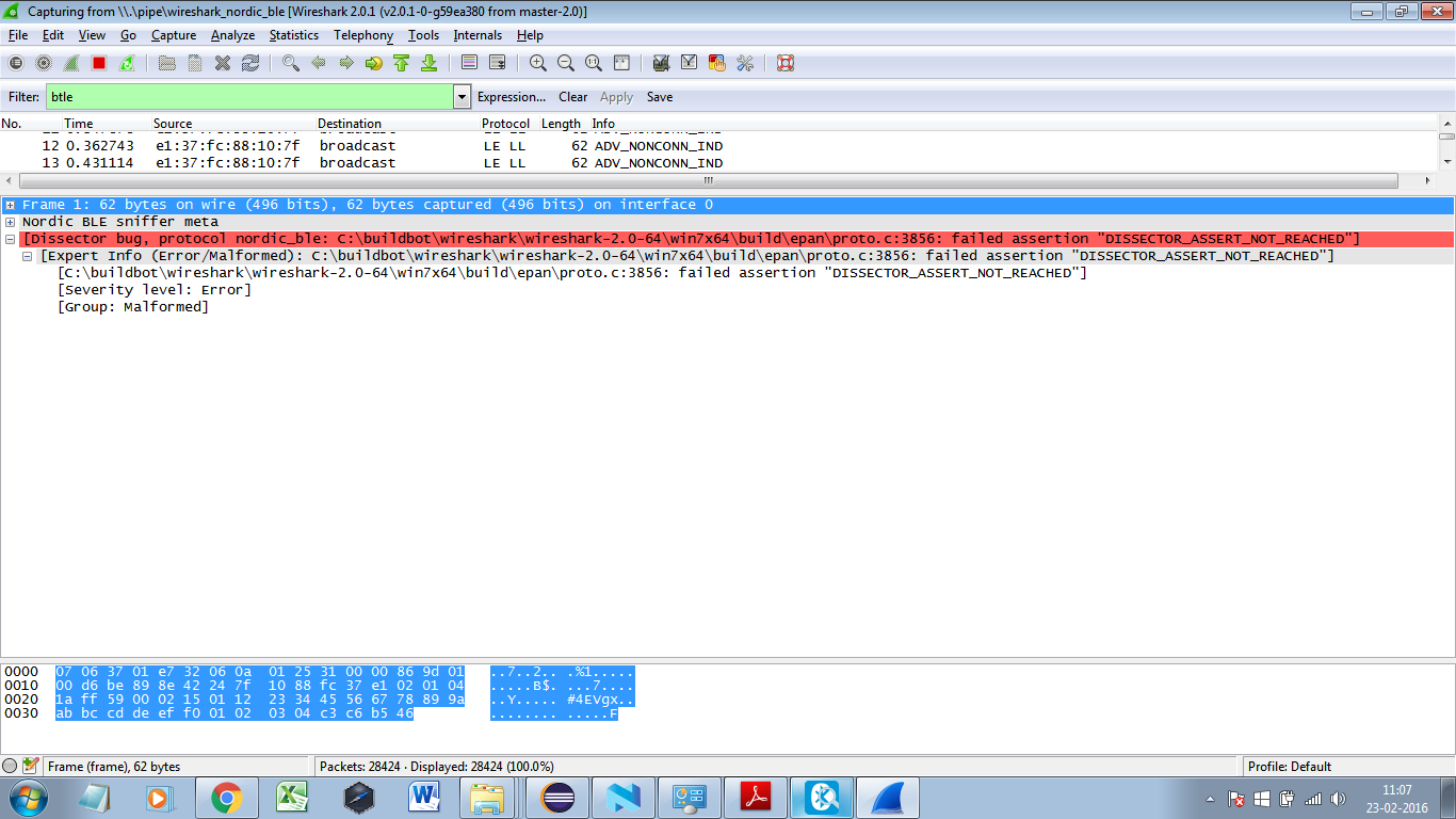 wireshark not capturing BLE Packets - Nordic DevZone