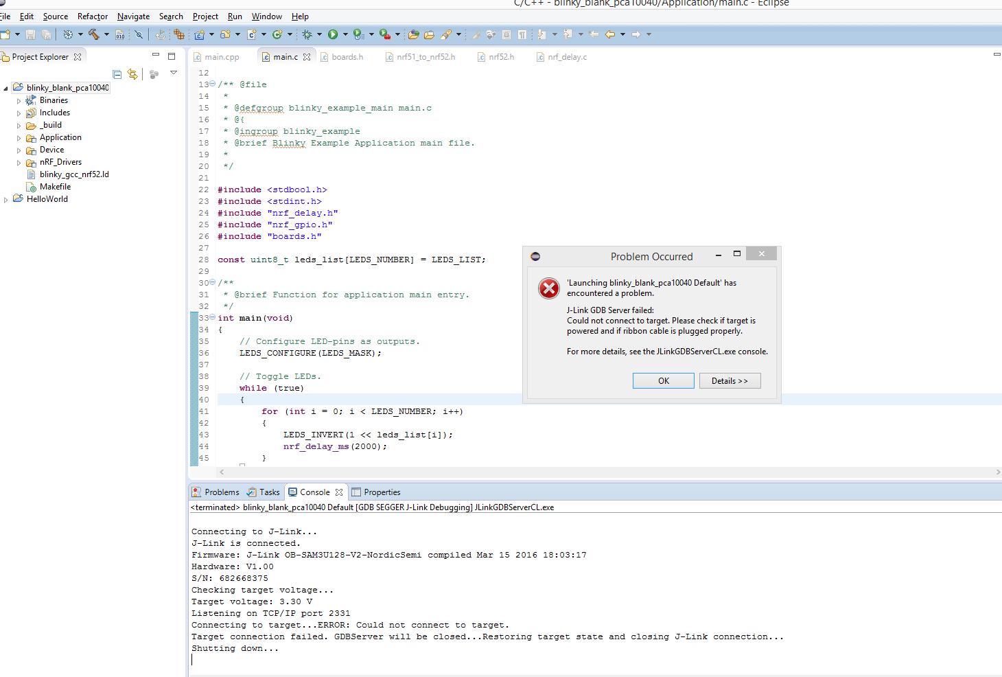 debug nRF52 PCA10040, with eclipse, error: J-link GDB Server failed