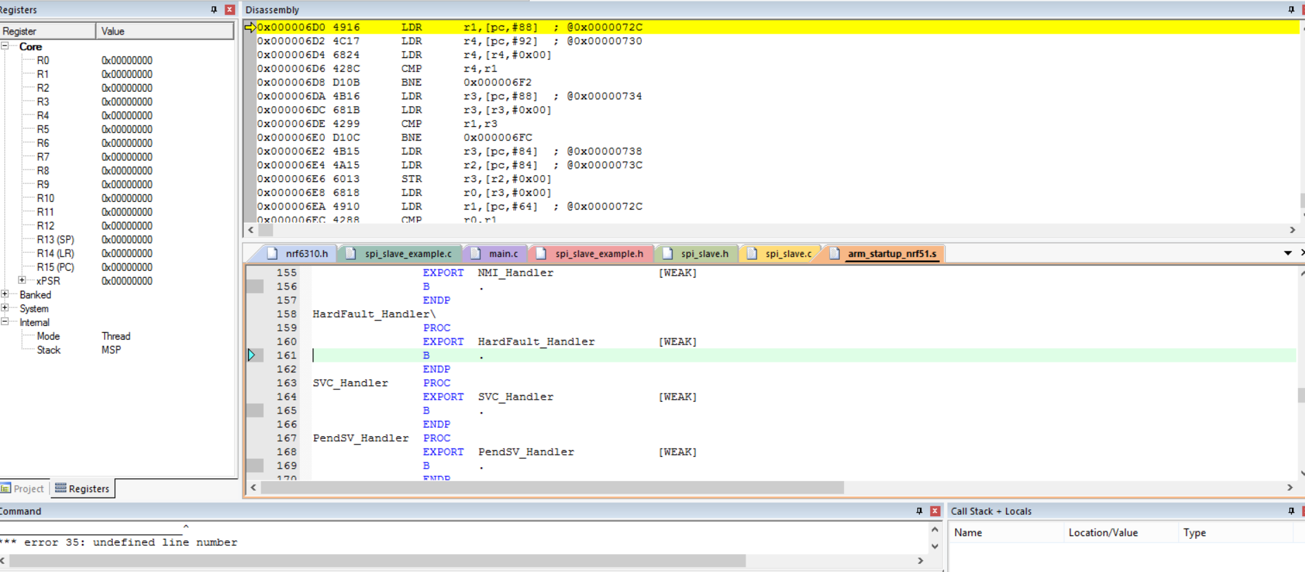 Slave example SPI doesn't work - Nordic DevZone