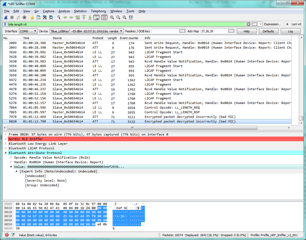 nRF Sniffer unable to track packet data length changes - Nordic DevZone