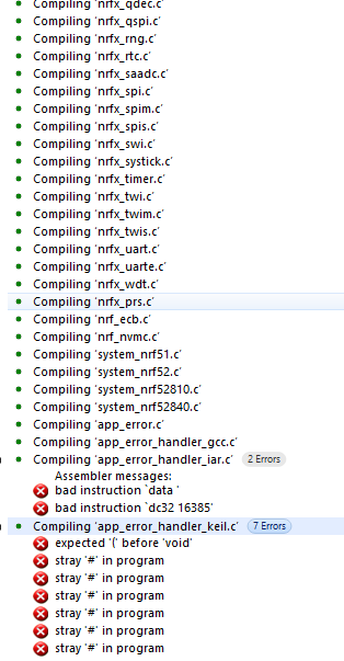 Error while compiling project on Segger - Nordic DevZone