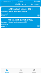 No communication between nRF Mesh mobile app and