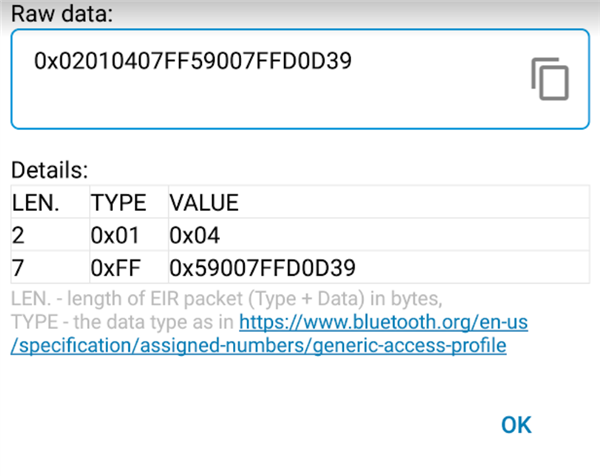 Extract manufacturer data from BLE advertising beacon data