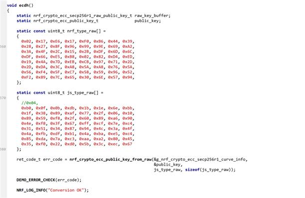 Import raw public key from javascript ecdh - Nordic DevZone