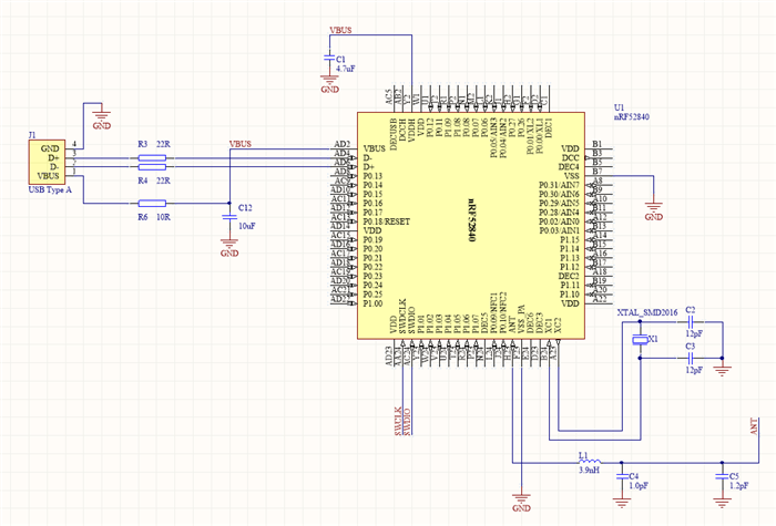 Circuit configuration for USB Dongle using nrf52840 - Nordic DevZone